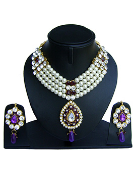 White N Purple Zircon Stone Necklace Set