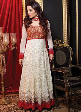 White N Red Abaya Style Anarkali Suit