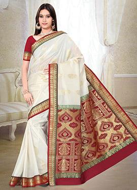 White N Red Art Kancheepuram Silk Saree