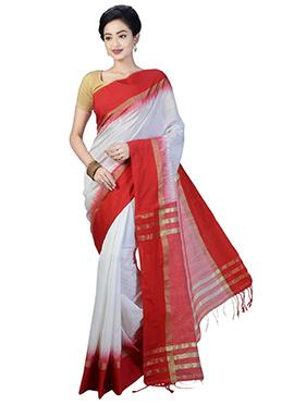 White N Red Art Silk Saree