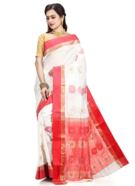White N Red Art Silk Tant Saree