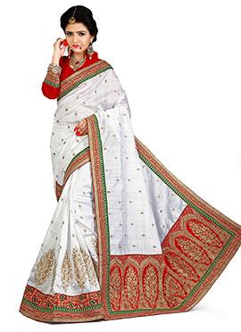 White N Red Bhagalpuri Art Silk Saree