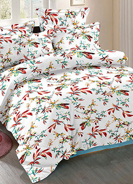White N Red Cotton Bed Sheet