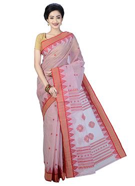 Red Cotton Bengal Handloom Saree