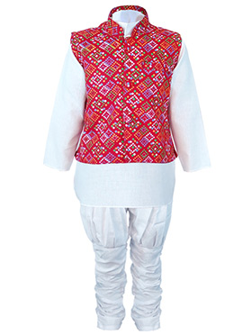 White N Red Cotton Kids Bandi Set