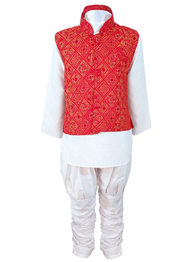 White N Red Cotton Kids Bandi Set