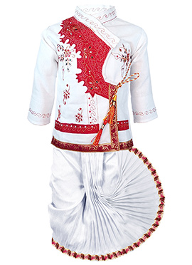 White N Red Cotton Kids Dhoti Kurt Set