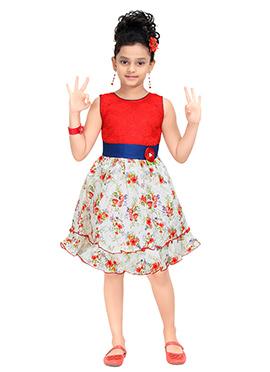 White N Red Cotton Kids Dress