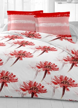 White N Red Cotton King Size Bed Sheet