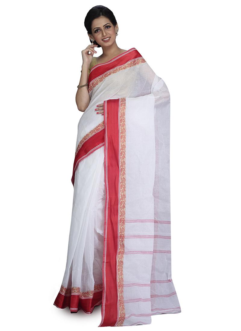 611fbf85ca Buy White N Red Cotton Tant Saree, Handloom , Bengal Handloom ...