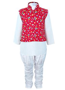 White N Red Cotton Teens Bandi Set