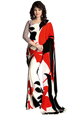 White N Red Crepe Saree