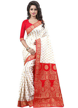 White N Red Crepe Silk Saree
