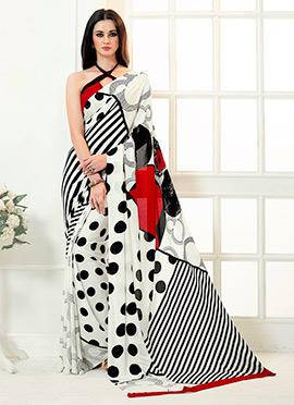 White N Red Crepe Silk Saree