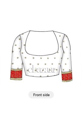 White N Red Embroidered Elbow Sleeve Blouse