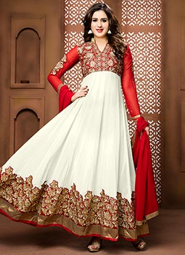 White N Red Georgette Ankle Length Anarkali Suit
