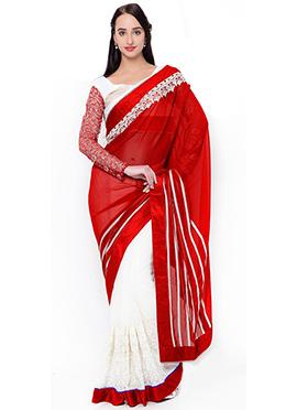 White N Red Half N Half Saree
