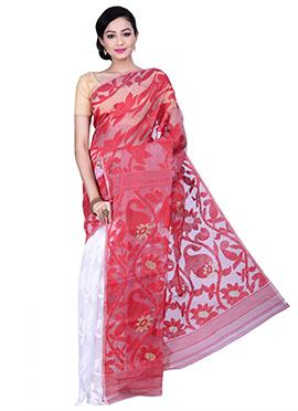 White N Red Jamdani Muslin Silk Half N Half Saree
