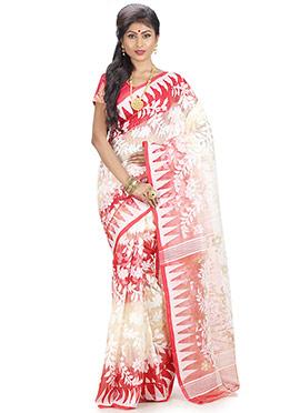 White N Red Jamdani Saree