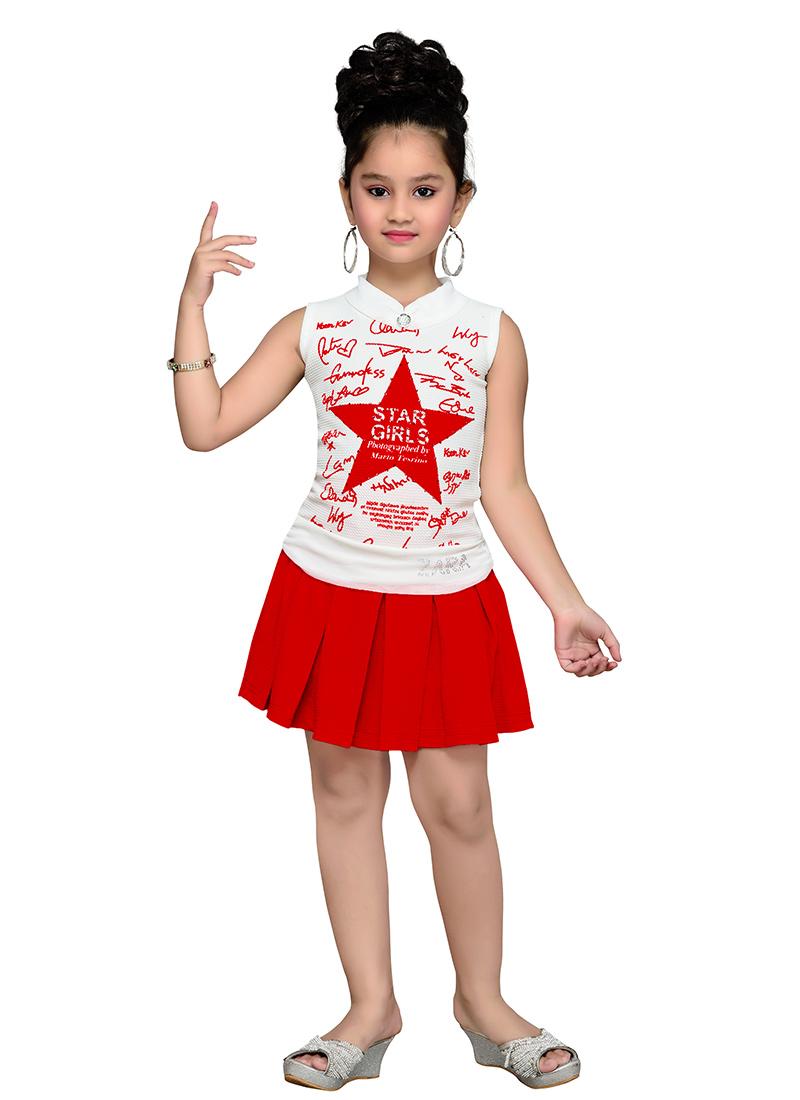 Buy White N Red Kids Dress Girls-dress Online Shopping KDMKADR308RED