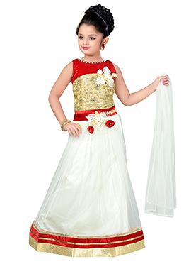 Cream N Red Kids Lehenga Choli