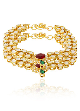 White N Red Kundan Anklet