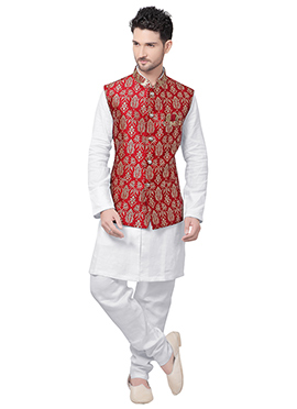 White N Red Linen Bandi Set