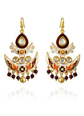 White N Red Meenakari Dangler Earring