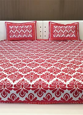 White N Red Pure Cotton Bed Spread