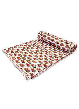 White N Red Pure Cotton Double Sided Quilt