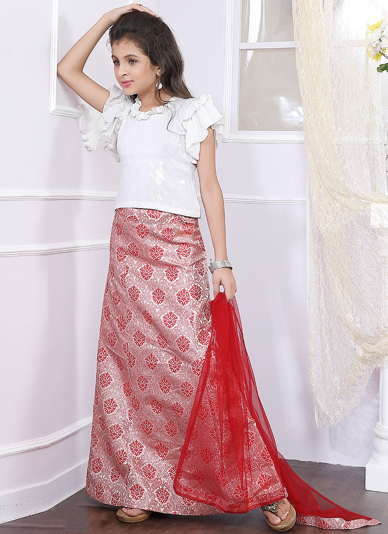252112e643 Buy White N Red Sequins Embroidered Kids Lehenga Set, Sequins ...
