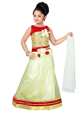 White N Red Teens Lehenga Choli