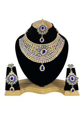 White N Royal Blue Zircon Stone Choker Necklace Set