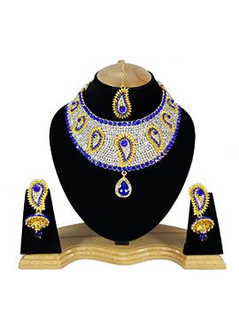 White N Royal Blue Zircon Stone Choker Necklace Set