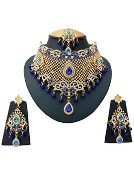 White N Royal Blue Zircon Stone Necklace Set