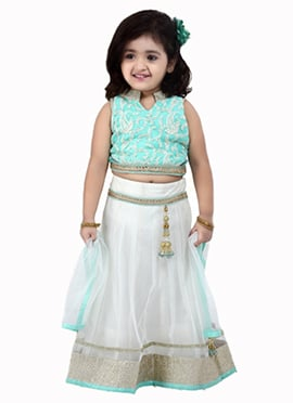 White N Sea Green Net A Line Lehenga Choli