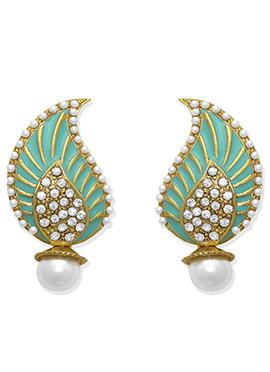 White N Sea Green Studs Earring