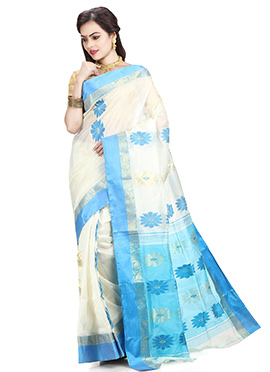 White N Sky Blue Art Silk Tant Saree