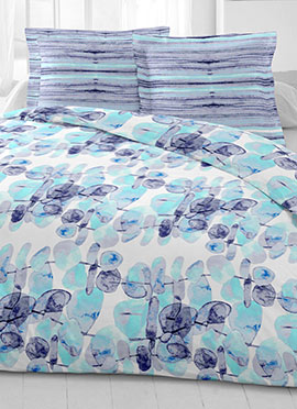 White N Sky Blue Cotton King Size Bed Sheet
