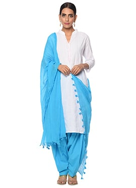 White N Sky Blue Cotton Patiala Suit