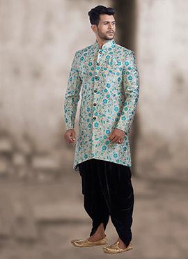 White N Sky Blue Jacquard Indowestern Sherwani