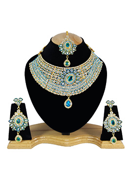 White N Sky Blue Zircon Stone Choker Necklace Set