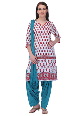 White N Teal Blue Pure Cotton Patiala Suit