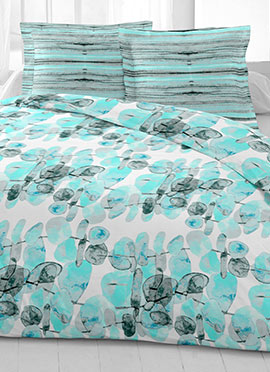 White N Turquoise Cotton King Size Bed Sheet