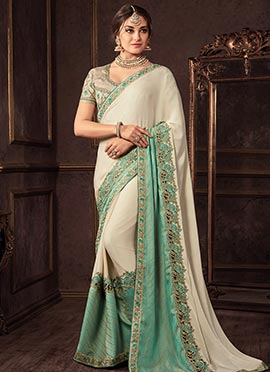 White N Turquoise Embroidered Saree