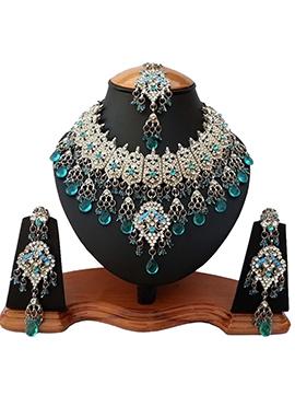 White N Turquoise Zircon Stone Necklace Set