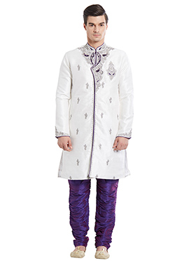 White N Violet Art Silk Indowestern Kurta Set
