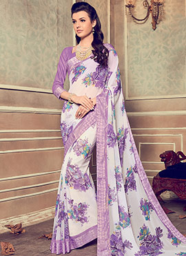 White N Violet Georgette Saree