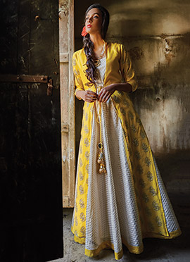 White N Yellow Art Silk Jacket Style Anarkali Suit