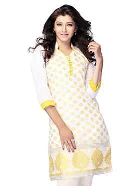 White N Yellow Art Silk Short Kurti